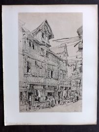 After Samuel Prout 1880 Antique Print. Old Streeit in Lisieux, France